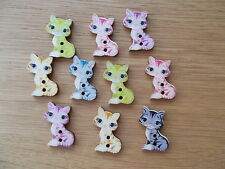 10 WOOD SEWING BUTTON CAT ANIMAL SHAPE  ASSORTED   CRAFTS/SCRAP BOOKING