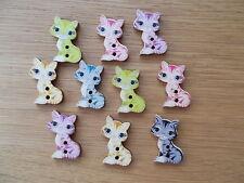10 botón de costura de Madera Gato Animal Forma Artesanía/chatarra de reserva Surtidos