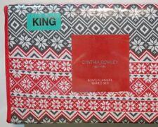 Cynthia Rowley Nordic Cranberry King 4pc Sheet Set Turkish Cotton Flannel Bonus