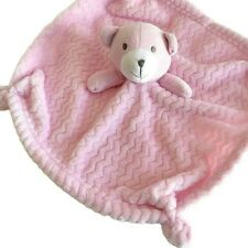 SL Home Fashions Pink Bear Lovey Security Blanket Knotted Plush Fleece Zig Zag