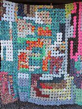 "Vtg 60s YoYo Quilt Bedspread Coverlet Multi Bright Flower Power Rainbow 74""x 97"""