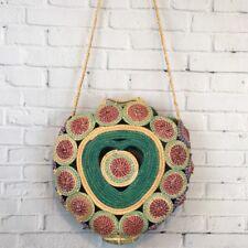 Handmade Woven Straw Shoulder Bag Multicolor Heart Shape Large Purse Boho OOAK