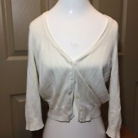 CANDIES womens White Cardigan Sweater Size Large