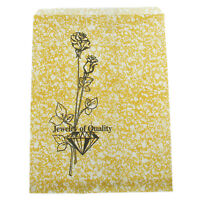 Gold Rose Style Paper Gift Bags For Jewelry Merchandise Shopping 5x7 Pack Of 100