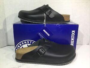 Birkenstock Womens Size 8 EU 39 Boston Black Leather Professional Clogs ZB6-1168