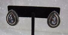 Vintage Amethyst & Silver Filigree Tear Drop Earrings for Pierced Ears