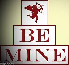 Stencil Be Mine Cupid Set of 3 Valentine Stencils for Blocks Free Ship!