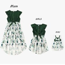 Mother Daughter Baby Matching Dresses Family Set Flower Clothes Fashion Cotton