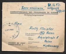 FRANCE GERMANY 1947 POW GERMAN PRISONER OF WAR LETTER FROM FRENCH PRISON IN DIJO
