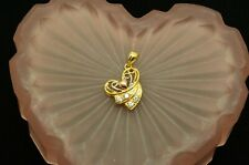 18K YELLOW WHITE & ROSE GOLD FANCY RIBBONED HEART PENDANT CHARM W/ CZ ACCENTS