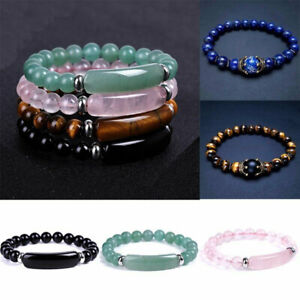 Fashion Tiger Eye Natural Stone Beaded Bracelet Women Men Elasticity Bangle Gift
