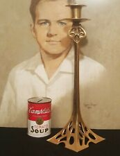 "14"" Nouveau candlestick vtg brass table art furniture sculpture candle holder"