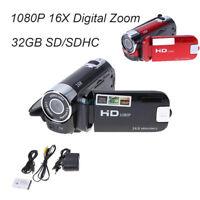 Full HD 1080P Digital Zoom Video Camera DV Camcorder 16MP 16X 32GB SD/SDHC