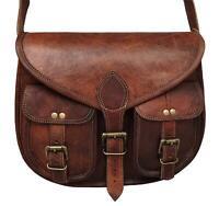 """13"""" Leather Vintage Women Handbag Bag Purse Shoulder Hobo Messenger Tote Brown"""