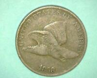 1858 FLYING EAGLE LARGE LETTERS CENT  FINE PLUS     ~397629