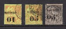 Martinique 1886-90 Partial Set - Used - SC# 5-6, 12  Cats $104.50   No Reserve!