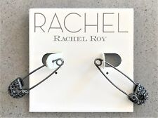RACHEL Rachel Roy Hematite-Tone Black Pavé Safety Pin Drop Earrings NWT