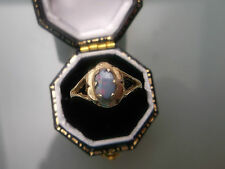 Women's 9ct Gold Black Opal Ring Weight 1.6g Size I 1/2 Stamped Quality Ring