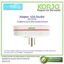 4x Dual Aust to Single USA Travel Adaptor Korjo