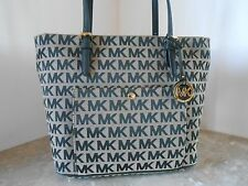 New MICHAEL KORS Jet Set LARGE TZ Snap MK Logo Pocket Tote $178 BG/BLACK/BLACK