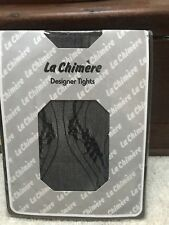 LA CHIMIERE VINTAGE DESIGNER TIGHTS ONE SIZE UNWORN BLACK NOTTINGHAM LACE FLOWER