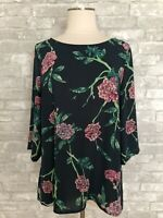 HD In Paris by Anthropologie Eira 12 Green Floral Pullover Blouse Top 3/4 Sleeve