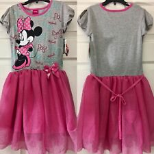 NWT DISNEY MINNIE MOUSE DRESS 5 GREY STRETCHY TOP w PINK NET TUTU SKIRT
