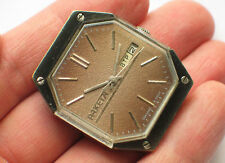 Vintage soviet RAKETA watch Uncommon Octagonal glass Day&Date *SERVICED* '1980s