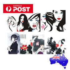 SKETCH GIRL & ORIENTAL GIRL style Nail Sticker 2 x sheets Water Transfers Decal