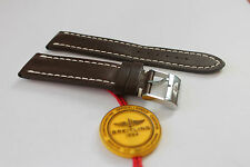 100% Genuine New Breitling Dark Brown Calf Leather Tang Buckle Strap, 22-20mm