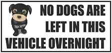 NO DOGS ARE LEFT IN THIS VEHICLE OVERNIGHT Funny Car/Van/Window/Bumper Sticker