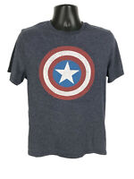 Captain America Shirt Old Nave Mens Size M Medium Gray Short Sleeve Star Logo