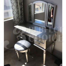 Tri Folding Mirror Vanity Set Makeup Table Dresser Bench 5 Drawers Wood Silver