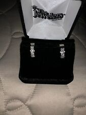 18 K WHITE GOLD 2 CARAT  24 Stones DIAMOND PIERCED EARRINGS HUGGIE HOOP.