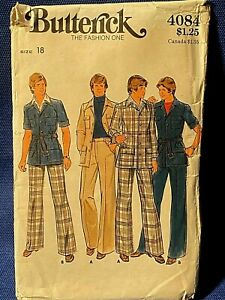Butterick Sewing Pattern 1970s Mens Jacket and Pants Size 18 4084
