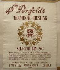 OLD AUSTRALIAN WINE SPIRIT LABEL, 1971 PENFOLDS TRAMINER RIESLING BIN 202