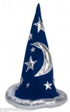 Magicians WIZARD HAT Magic Trick Costume Merlin Cap Blue Harry Potter Stars Moon