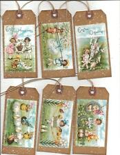 12 PRIMITIVE TAGS~Sweet Easter!~HANG TAGS~Pastel Easter Eggs
