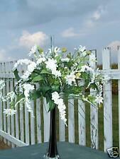 Tall Black Vase Silk Arrangement White Wedding Flowers Banquet Event Planning