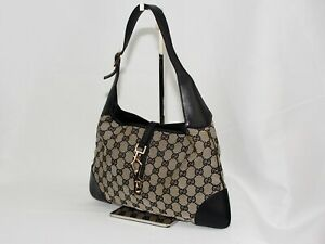 【Rank AB】Auth Gucci Jackie Canvas Shoulder Hand Bag Vintage From Japan A106