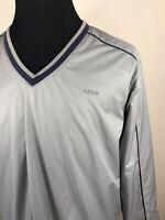 IZOD Windbreaker Golf Jacket L Gray Mens Mesh Lined Vented Pullover