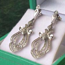 GORGEOUS  Edwardian Revival Diamond Drop Earrings 14 K White Gold 1.04CWT by SAI