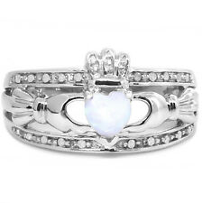 Natural Claddagh Opal 20 Diamond 9k 9ct 375 Solid White Gold Celtic Ring