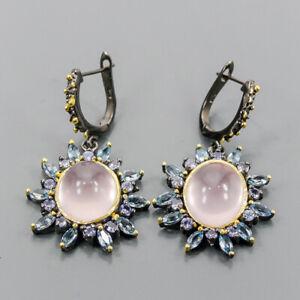 Handmade SET Rose Quartz Earrings Silver 925 Sterling   /E51794