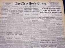 1940 MAR 28 NEW YORK TIMES NEWSPAPER - CCC FUNDS RAISED 50 MILLION - NT 34