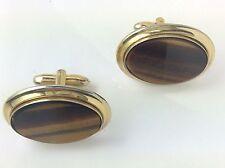 Tigers Eye Vintage Oval Gold Plated Mens Cufflinks Wedding Male Cuffs Links A470