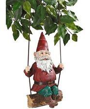 Sammy the Swinging Gnome Statue Garden Elf Porch Whimsical Sculpture Decoration