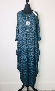 Made In Italy Lagenlook Teal Leopard Print Parachute Dress - UK Size 12 14 16