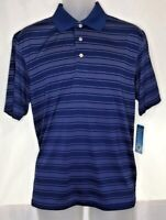 PGA Tour Blue/Black/White Striped Short Sleeve Golf Polo Mens Size Medium M NWT