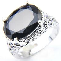 European Style Oval Cut Black Onyx Gemstone Silver Woman Men Ring US Size 7 8 9